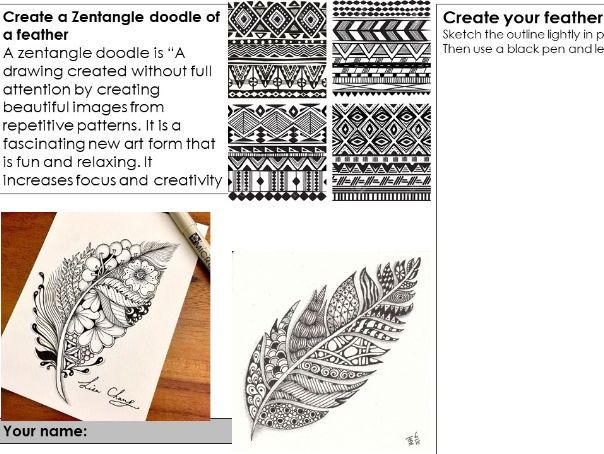 "Cover art lesson ""zentangle doodle of a feather"" and is suitable for home learning"