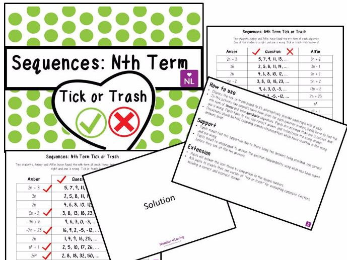 Sequences; Nth Term (Tick or Trash)