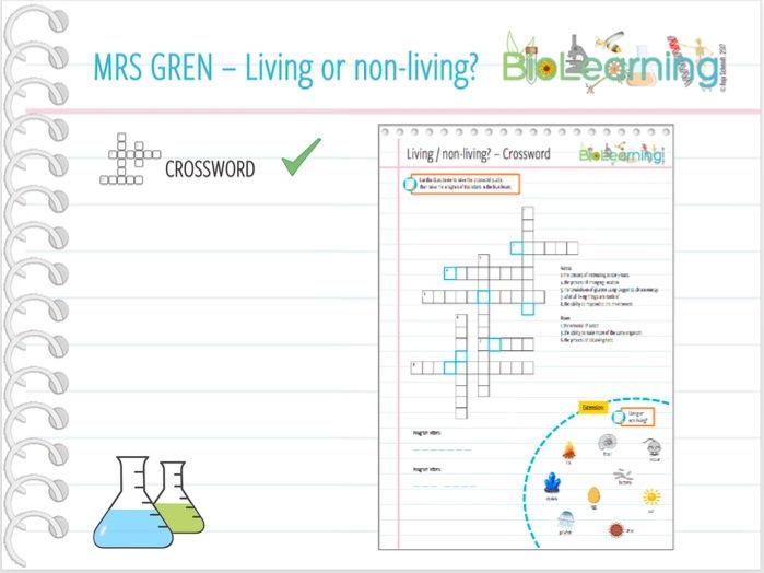 Living / non-living - Crossword (KS2/KS3)