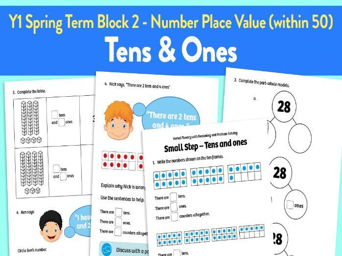 Tens and Ones activities: Y1 Spring Term, Block 2 – Number: Place Value (within 50)