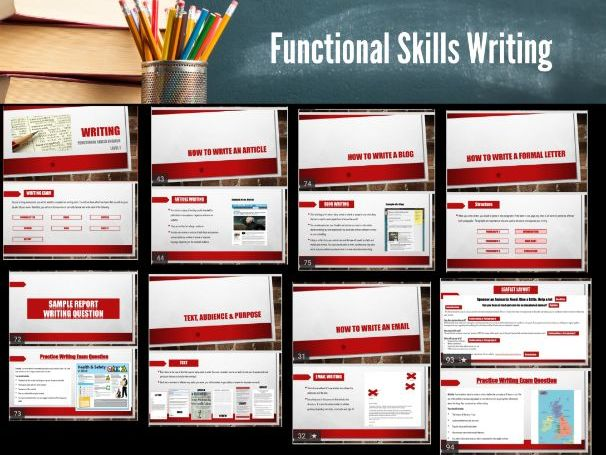 Functional Skills English Writing  Level 1 - 95 slide PPT. Letters, Emails, Reviews,Reports,Blogs.,.