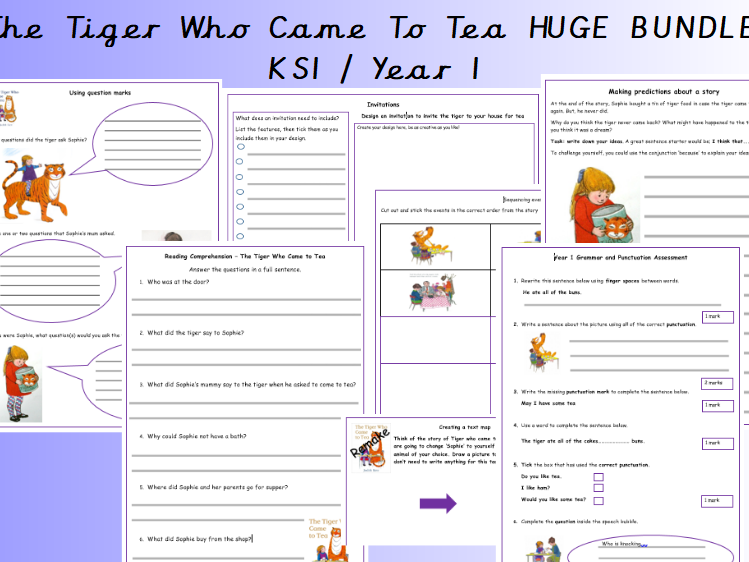 Y1  KS1 Editable Tiger Who Came To Tea English Writing Bundle for unit of work or homework resources