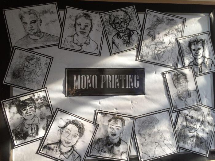 Monoprint Self-Portraits