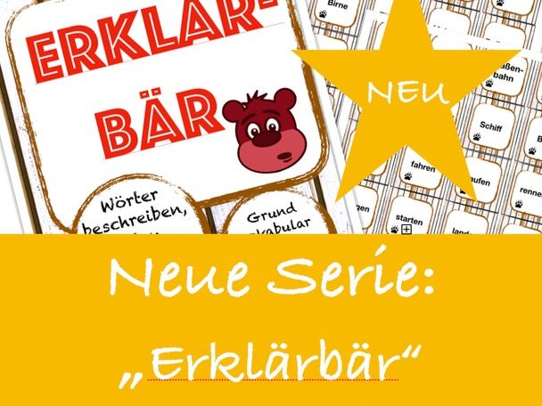 ERKLÄRBÄR-Spiel: im Büro, Deutsch/German office words game, speaking and describing vocabulary, DAF