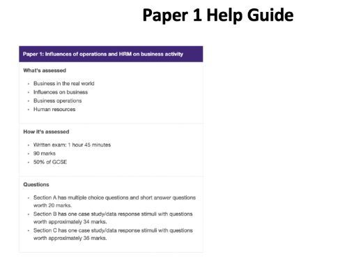 AQA GCSE Business (9-1) Paper 1 and Paper 2 help guides for Students