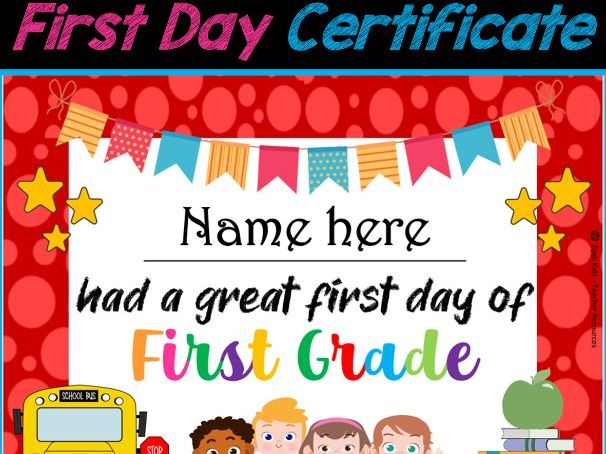 First Day of School Certificates- Back to School EDITABLE Certificates