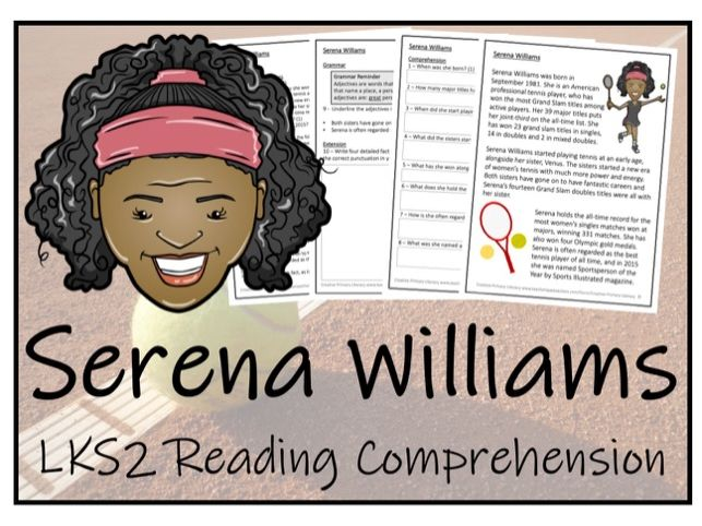 LKS2 Literacy - Serena Williams Reading Comprehension Activity