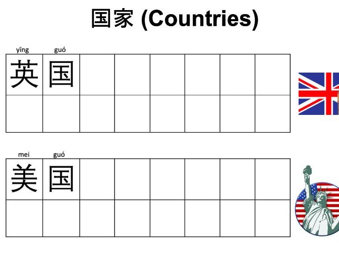 Learn and Write Countries in Mandarin Chinese