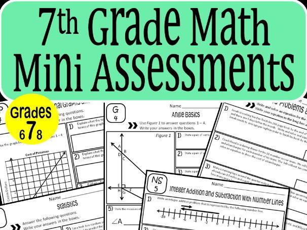 7th Grade Math Mini Assessments