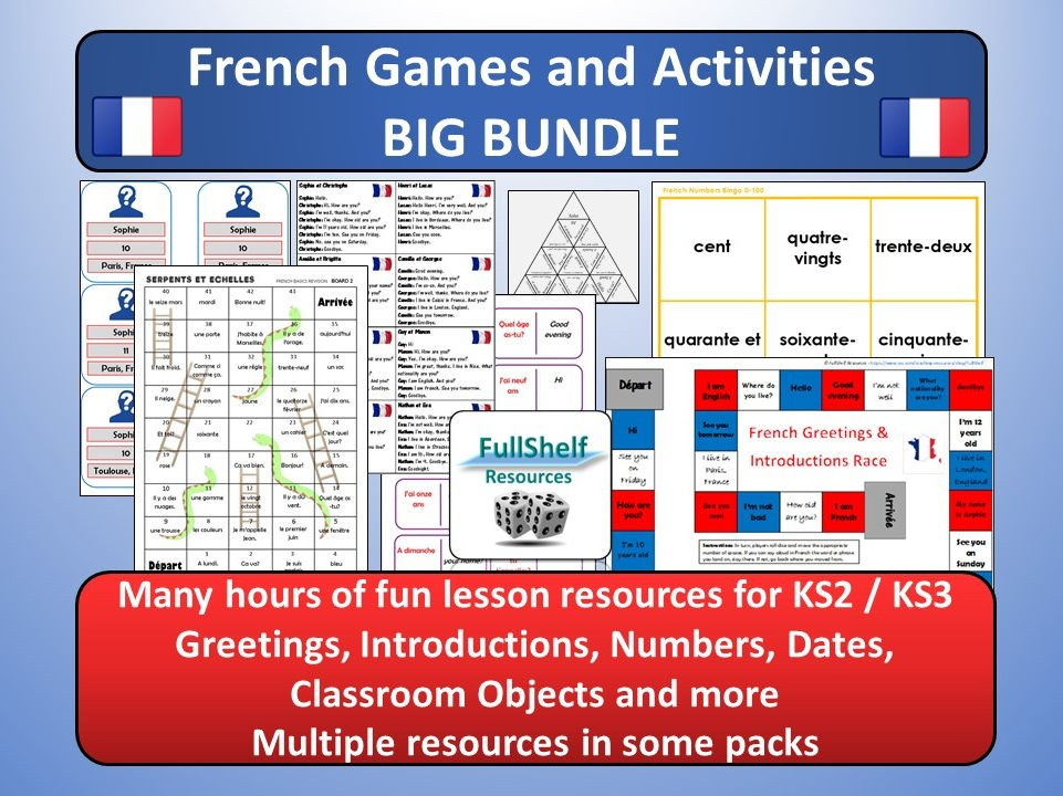 French Basics BUNDLE (Games / Activities) KS2 / KS3