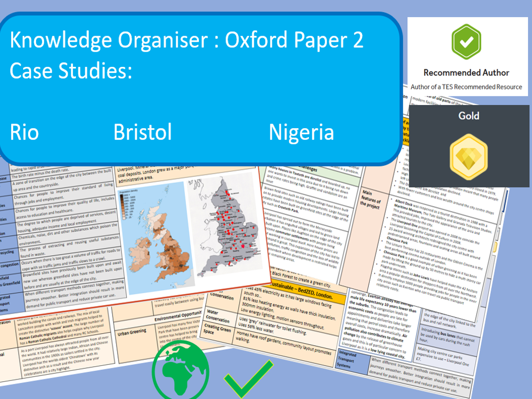 GCSE AQA 9-1 Oxford Case Studies Paper 2.  Case Studies, Bristol, Rio and Nigeria Knowledge Organisers