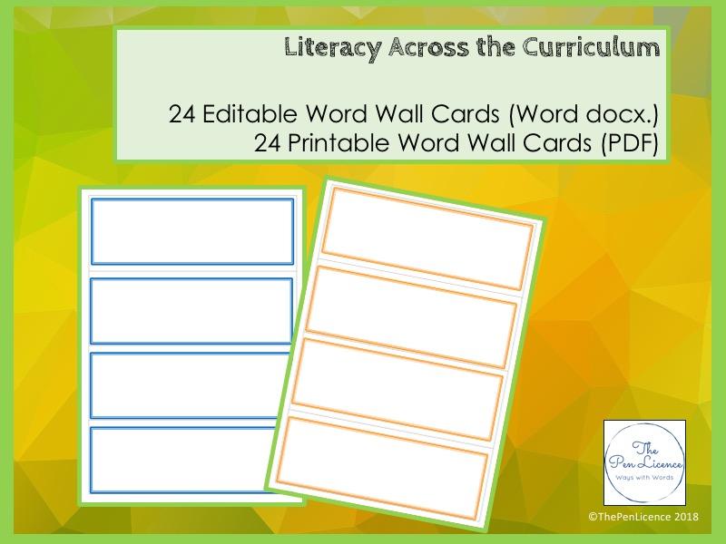 photo regarding Word Wall Printable identified as Printable and Editable Phrase Wall Playing cards
