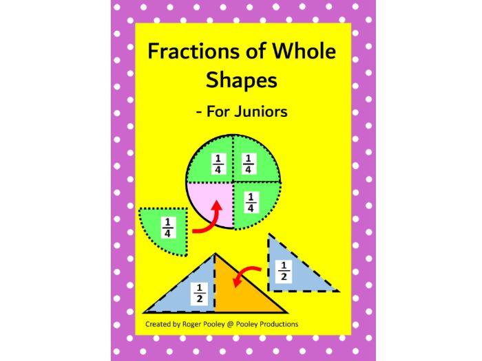 Fractions of Whole Shapes for Juniors - Half and Quarter