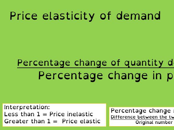 1.2.4 Edexcel Business Education Price elasticity of demand whole lesson A-level