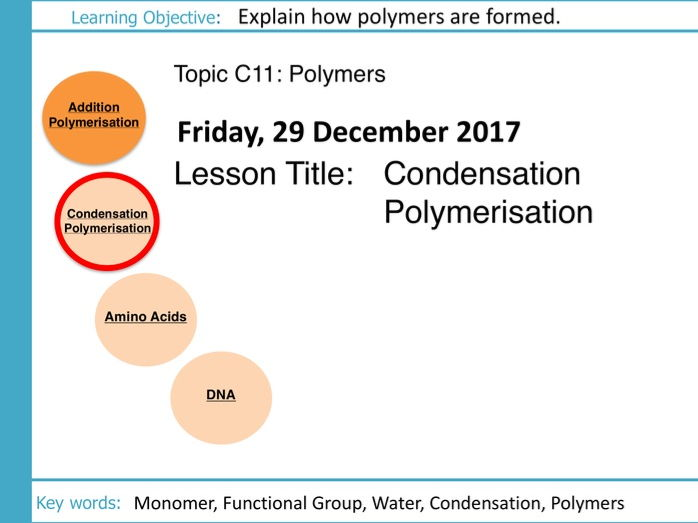AQA GCSE: C11 Polymers: L2 Condensation Polymerisation