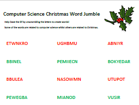Computer Science Christmas - Word Jumble Worksheet - Mixed Keywords