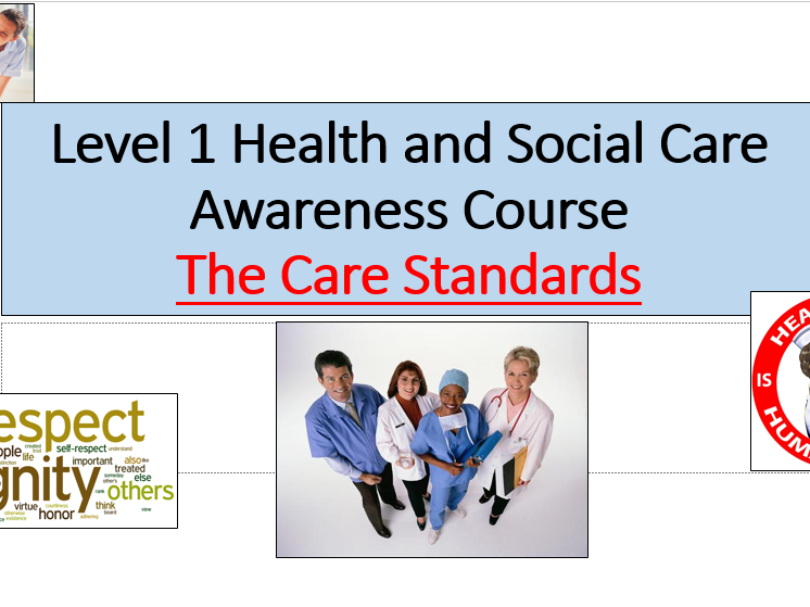 "Level 1 Health and Social Care- ""Care Standards"" Lesson power point with printable page activities"