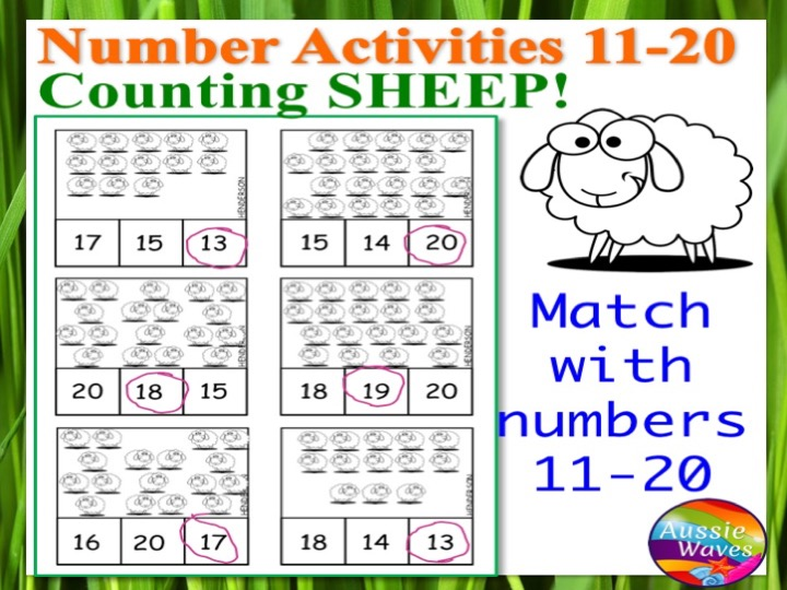 Printable Kinder Maths Centre Activity COUNTING NUMBERS 11-20 COUNTING SHEEP