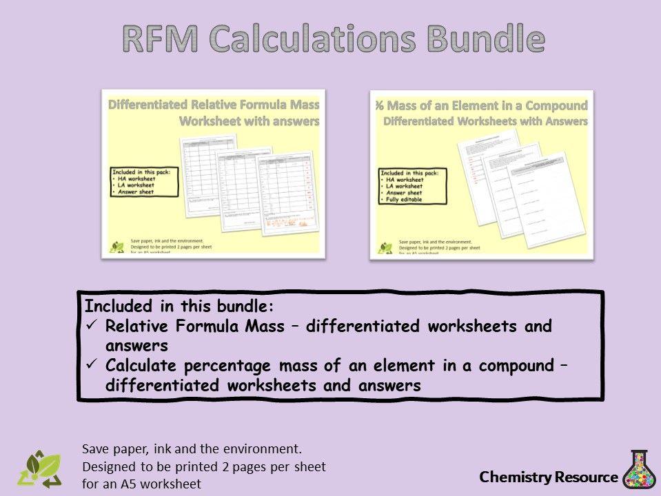 Relative Formula Mass (RFM) Calculations Worksheets.