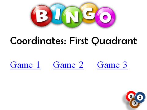 BINGO: Coordinates_First Quadrant