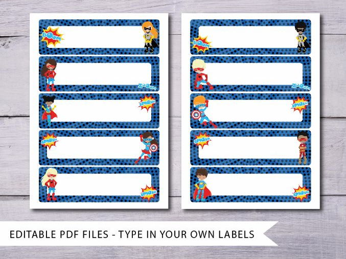 Superhero Tray Labels Blue - Editable