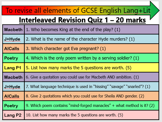 WEEK ONE:8 Interleaved AQA Lang + Lit Revision Quizzes (Different text combinations)