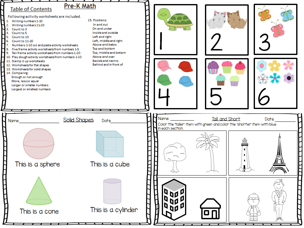 Math Bundle for Pre-K Worksheets