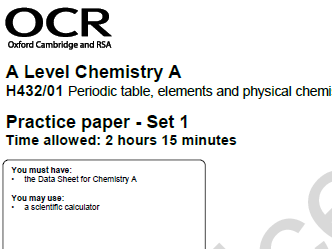 Self-assessment activity for OCR A level Chem Practice paper - Set 1, paper 1