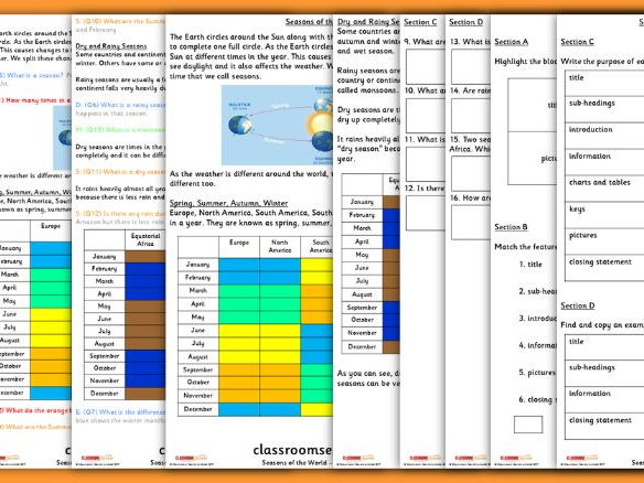 Seasons Year 2 Whole Class Guided Reading Comprehension