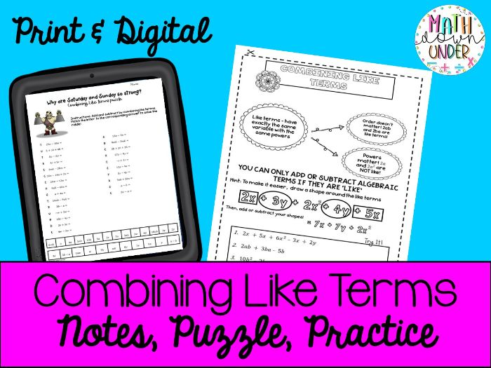 Combining Like Terms Activities- Notes, Puzzle, Practice PDF & Distance Learning