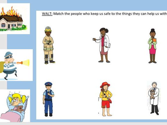 Matching Activity - Real Life Superheroes and Keeping Safe - Key Stage 1 PSHE