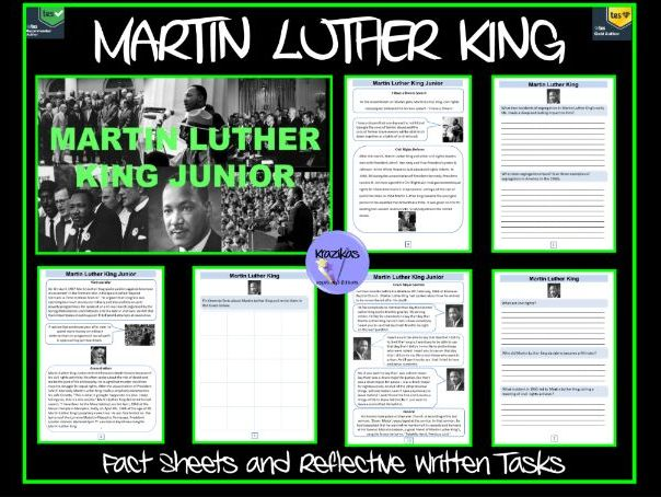 Martin Luther King - Facts Sheets and Reflective Written tasks