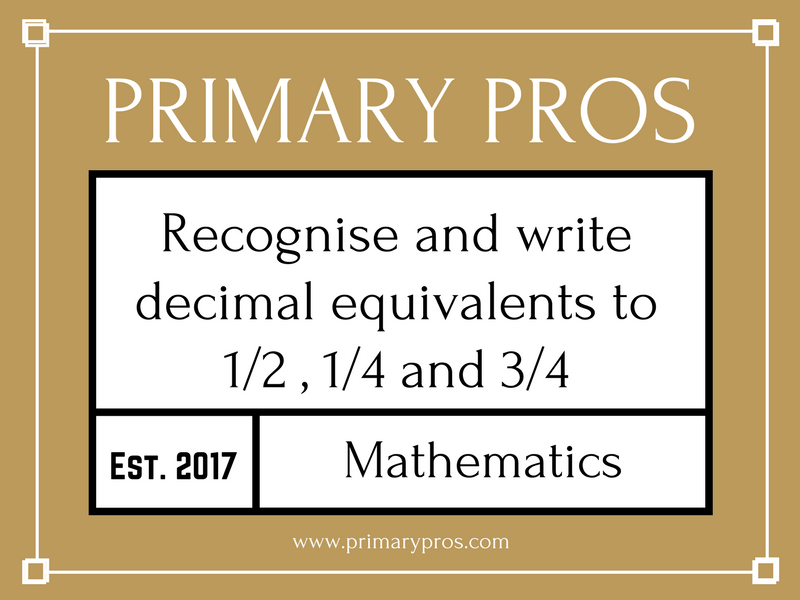 Recognise and write decimal equivalents to 1/2, 1/4 and 3/4
