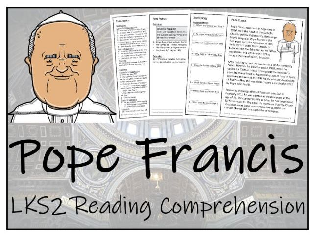 LKS2 Pope Francis Reading Comprehension Activity
