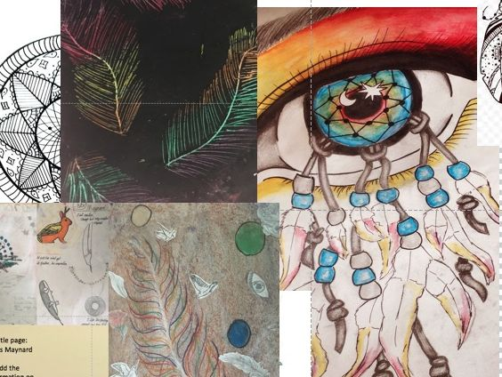 Drawing Feathers, oil pastel, wax and scratch, black pen patterned and  making a final Dream Catcher