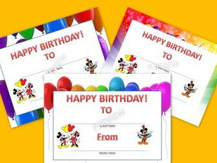 Birthday Certificate- Mickey Mouse