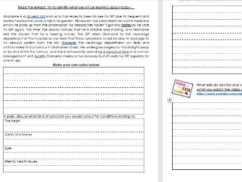 Health and Social Care BTEC Tech Award Level 2 - component 2 part A booklet 1 of a series of 3
