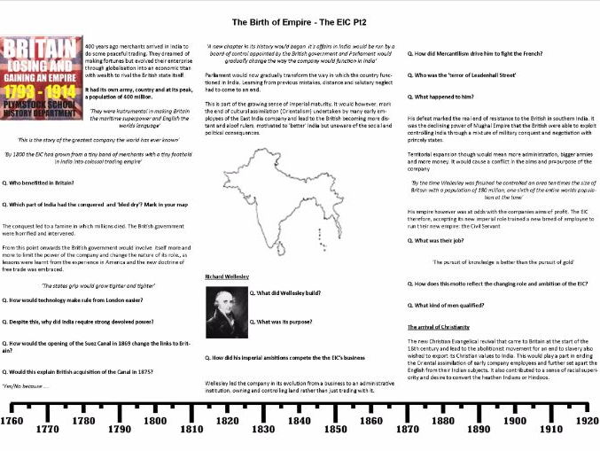 The Birth of Empire - The East India Company Episode 2 Worksheet to support the BBC Documentary