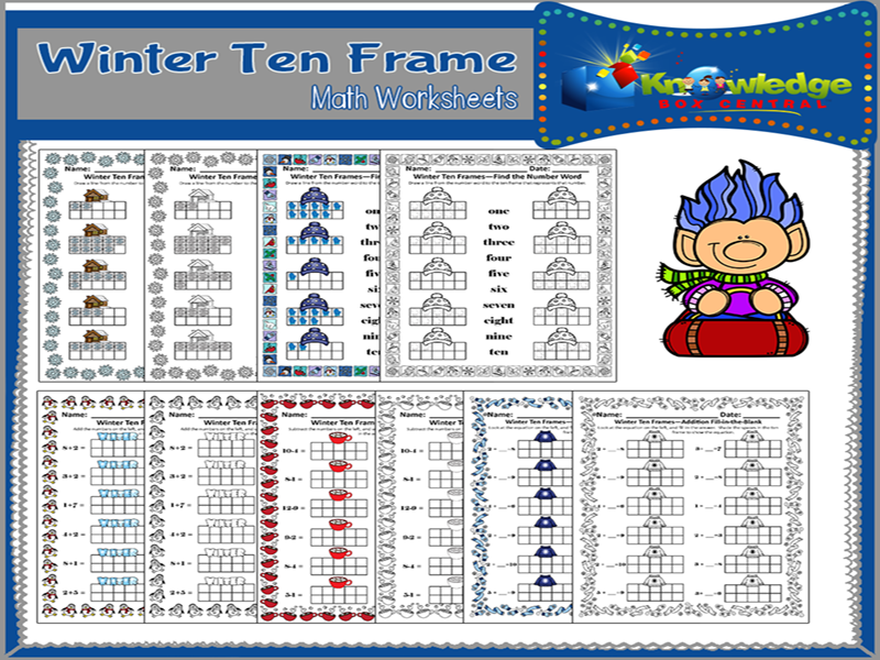 Winter Ten Frame Math Worksheets