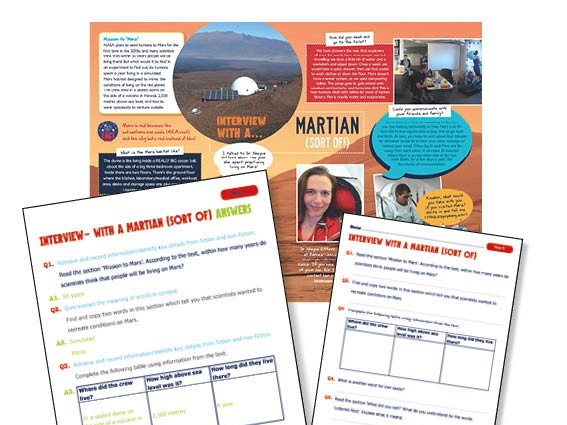 Year 5 Guided reading interview with a martian