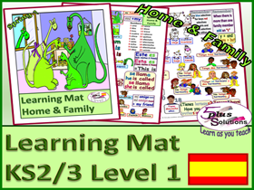 PRIMARY KS2/3 SPANISH VOCABULARY LEARNING MAT:Family, nos 1-20, age, adjectives, names, verbs &more