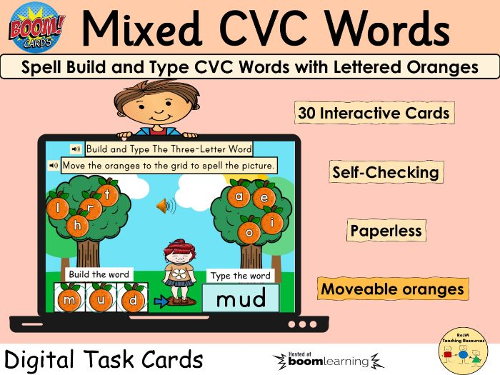 CVC Words Spell Build Oranges Fruit BOOM Cards™  Distance Home Learning