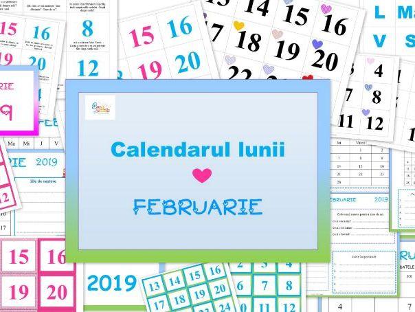 February Calendar in Romanian language