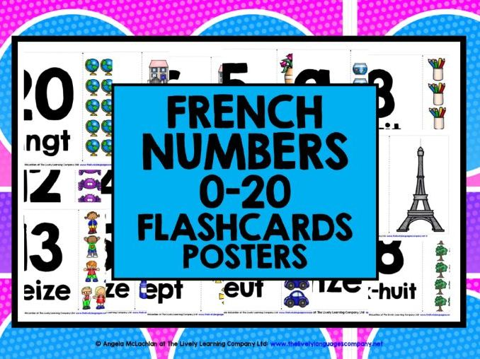 PRIMARY FRENCH NUMBERS 1-20 FLASHCARDS POSTERS