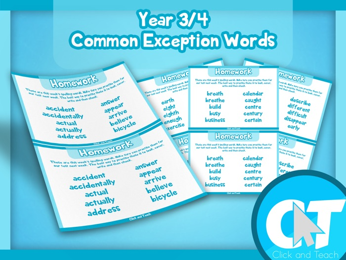 Year 3/4 Common Exception Words Homework