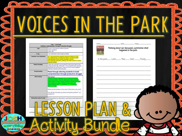 Voices In The Park by Anthony Browne Lesson Plan and Activities