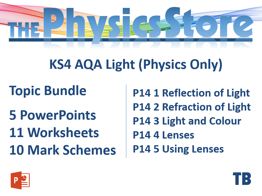 KS4 GCSE Physics AQA P14 Light  (Physics Only) Topic - 5 PPTs, 11 WS and 10 MS Bundle