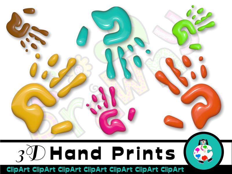 3d Glossy Hand Prints Clip Art