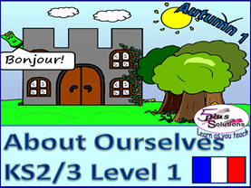 SEVEN LESSON PRIMARY KS2/3 FRENCH UNIT:Greetings, name,descriptions,how you are,colours, 1-12 etc.