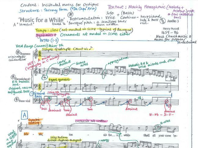Music for a While by Henry Purcell - Detailed colour-coded score analysis - Edexcel GCSE Music 9-1